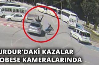 Burdur'daki kazalar Mobese kameralarında