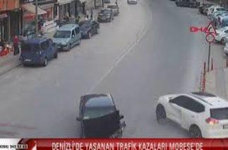 DENİZLİ'DE YAŞANAN TRAFİK KAZALARI MOBESE'DE