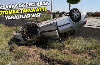 Aksaray'da Trafik Kazası, Otomobil Takla Attı