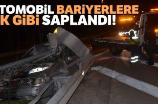 Bursa'da Trafik Kazası! Otomobil Bariyerlere Ok Gibi Saplandı