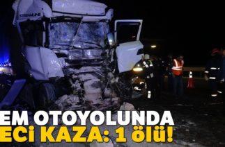 Düzce TEM Otoyolunda Trafik Kazası, TIR Taş Yüklü Kamyona Çarptı