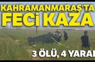 Elbistan'dan Trafik Kazası! Otomobil Buğday Tarlasına Uçtu: 3 Ölü