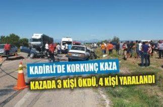 Kadirli'de trafik kazası 3 ölü, 4 yaralı