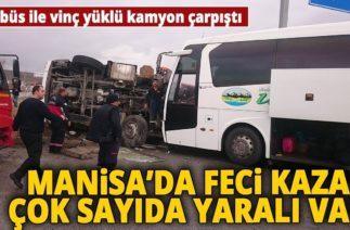 Kırkağaç'ta Trafik Kazası! Otobüs İle Vinç Yüklü Kamyon Çarpıştı: 17 Yaralı