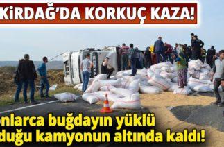 Tekirdağ Hayrabolu Yolunda Trafik Kazası, Buğday Yüklü Tır Devrildi: 1 Ölü