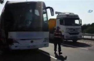 Tekirdağ'da Trafik kazası! Yoldu Otobüsü ile Tanker Çarpıştı
