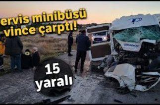 Çanakkale'de Trafik Kazası, Servis Minibüsü Vince Arkadan Çarptı