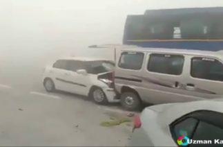 zincirleme trafik kazası videoları
