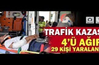 BİNGÖL'DE TRAFİK KAZASI 4'Ü AĞIR 29 KİŞİ YARALANDI