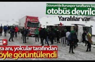 Bursaspor Taraftarını Taşıyan Otobüs Devrildi…Kaza Anını Böyle Kaydettiler
