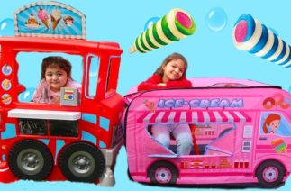 İKİ DONDURMACI ARASINDA BÜYÜK REKABET VE KOMİK ANLAR – Kids Pretend Play with Sweets Food Truck