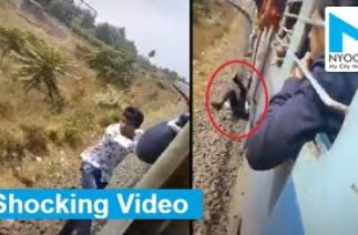 Man's scary fall off moving train captured in TikTok video
