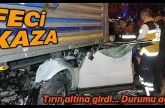 Samsun'da Trafik Kazası, Aracıyla Tırın Altına Giren İş Adamı Ağır Yaralandı