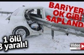 Sivas'ta Trafik Kazası, Otomobil Bariyerlere Ok Gibi Saplandı