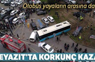 Beyazıt'ta Trafik Kazası! Halk Otobüsü Yayaların Arasına Daldı,Yaralılar Var