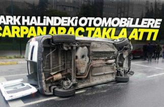Beylikdüzü'nde Trafik Kazası, Otomobil Takla Attı