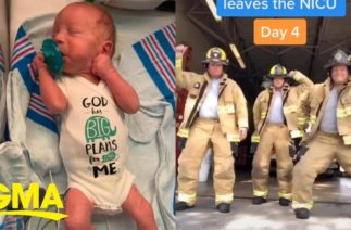 Dad is dancing on TikTok every day until his newborn son leaves the NICU l GMA Digital