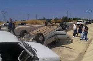 Malkara'da Trafik Kazası! Taklalar Atan Araçtan Sağ Çıktılar