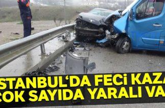 Sancaktepe'de Trafik Kazası, Yolcu Minibüsü İle Otomobil Çarpıştı 1'i Ağır 10 Yaralı