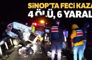 Sinop-Boyabat Kara Yolunda Trafik Kazası, 4 Ölü, 6 Yaralı