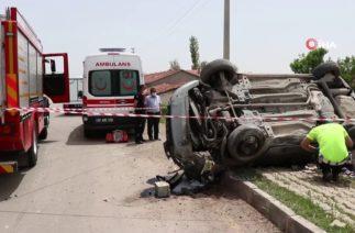 Aksaray'da Trafik Kazası, Otomobil Takla Attı: 1 Ölü, 1 Ağır Yaralı