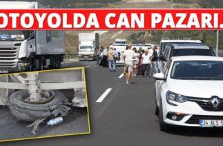 Orhangazi'da Trafik Kazası! Lastiği Patlayan Minibüs Otoyolda Devrildi…