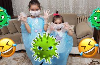 Elif ve Zeynep Mavi Poşetlerden Komik Elbise Giydiler. Funny Kids Videos