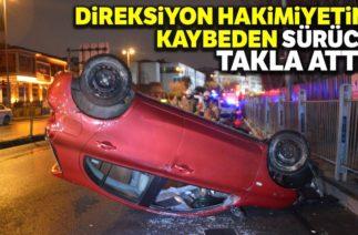 Balat'ta Trafik Kazası, Otomobil Takla Atarak Durabildi