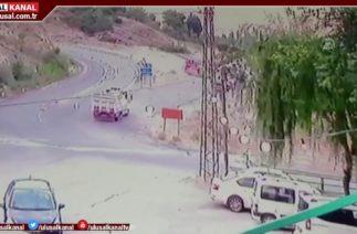 Elazığ'da trafik kazası güvenlik kamerasında