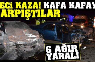 Ordu'da Trafik Kazası, İki Otomobil Kafa Kafaya Çarpıştı: 6 Yaralı
