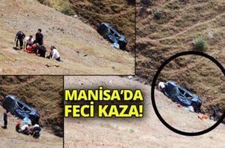 Manisa Salihli'de Trafik Kazası! Otomobil Uçuruma Yuvarlandı-İha