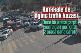 Kırıkkale'de ilginç trafik kazası kamerada