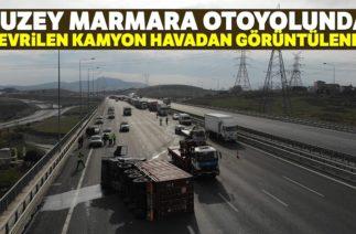 Kuzey Marmara Otoyolu'nda Trafik Kazası, Çipe Çarpan Kamyon Devrildi