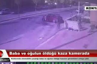 Kaldırımda otomobilin çarptığı baba ve oğulun öldüğü kaza kamerada