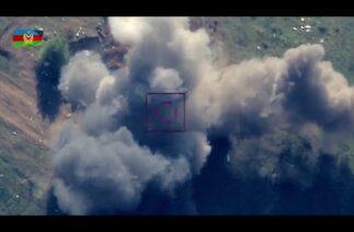 Siha'ların bombasını son saniyede gören Ermeni askerleri kaçmaya çalışıyor