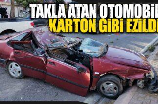 Kayseri'de Trafik Kazası, Takla Atan Otomobil Karton Gibi Ezildi