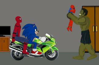 Team Spiderman, Sonic vs Angry Hulk Funny Animation – Drawing Cartoons 2