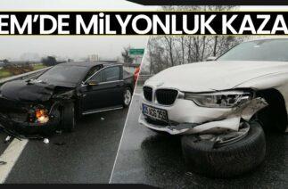 Düzce TEM Otoyolunda Milyonluk Kaza! 6 Lüks Araç Birbirine Girdi
