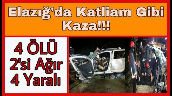 Elazığ'da otomobil ile hafif ticari araç kafa kafaya çarpıştı! 4 ölü, 2'si ağır 4 yaralı