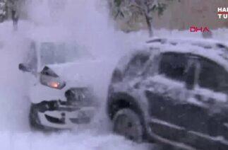 İstanbul'da yollar buz pistine döndü, kar kazası kameralara böyle yansıdı…