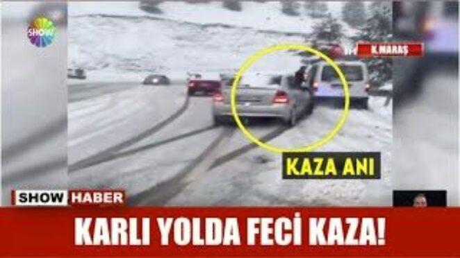 Karlı yolda feci kaza!