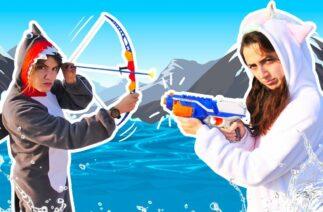 Komik video. Shark Unicorn ile yeni bölüm – denizde NERF war ile savaş!