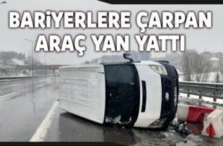 Kadıköy'de Trafik Kazası, Bariyerlere Çarpan Araç Yan Yattı; 2 Kişi Hafif Yaralandı