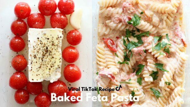 VIRAL TIKTOK BAKED FETA PASTA   PASTA WITH CHERRY TOMATOES & FETA CHEESE