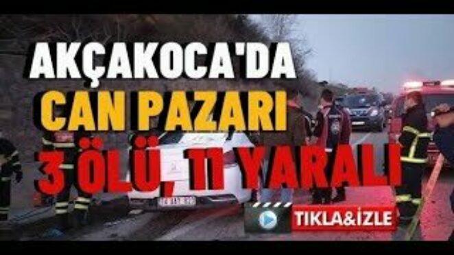 Akçakoca'da Trafik Kazası 3 ölü, 11 yaralı