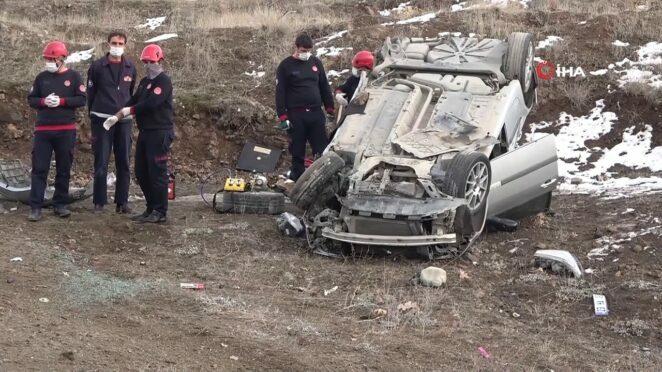 Elazığ'da Trafik Kazası, Otomobil Takla Attı: 1 Ölü 1 Yaralı