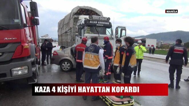 Manisa'da otomobille kamyon çarpıştı: 4 ölü