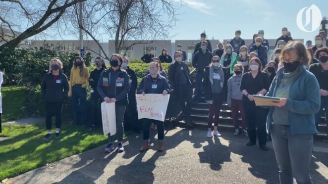 "OHSU professors, students chant, ""We believe you!"" in wake of TikTok doctor's sexual misconduct case"