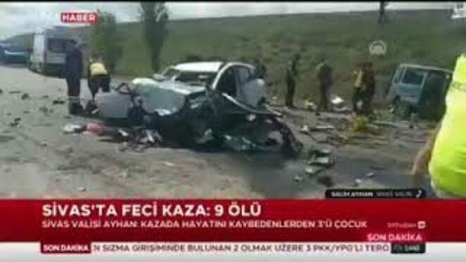 SİVAS GÖLOVA DA TRAFİK KAZASI 9 ÖLÜ