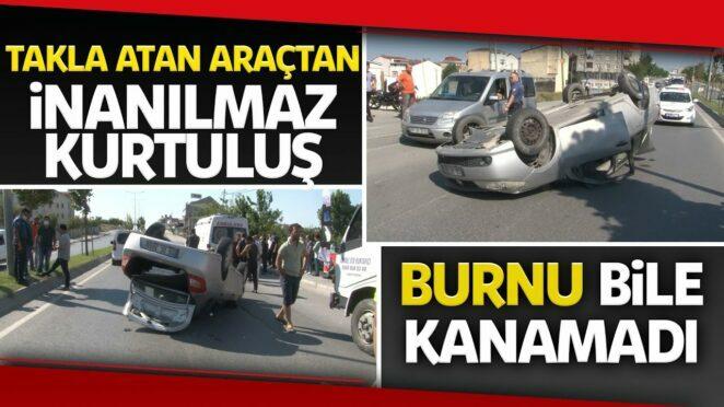 Arnavutköy'de Trafik Kazası, Ehliyetsiz Sürücünün Kullandığı Otomobil Takla Attı